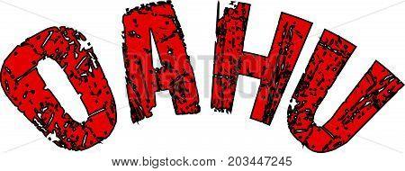 Oahu Text Sign Illustration