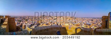 Panoramic view of Jaisalmer yellow city of Rajasthan, India famous for cultural heritage and Rajput