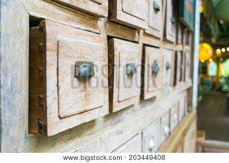 wooden cupboard old drawer wood floor background