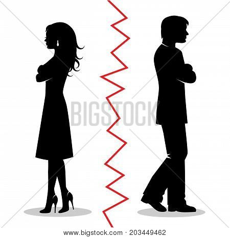 silhouettes of a heterosexual couple quarreled and turned away from each other and between the pair a red line