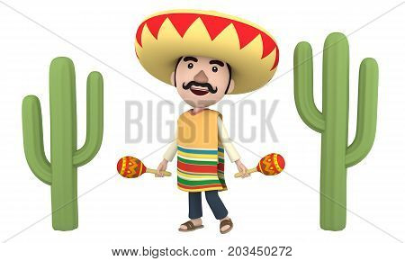 Smiling Mexican man with maracas, 3D illustration
