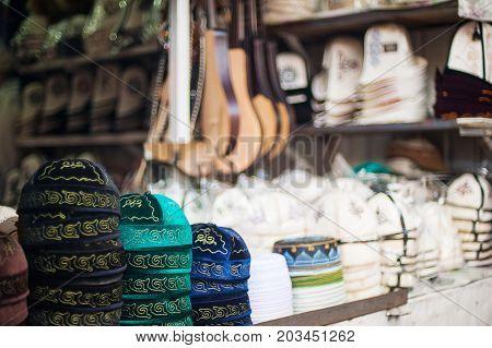 East market. Traditional hat , national  skullcap. Mongolia, Kazakhstan, Kyrgyzstan, Uzbekistan, Turkmenistan, Tajikistan. Traditional costume.