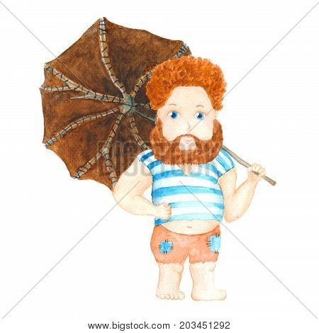 Handdrawn illustration - Robinson Crusoe with leather umbrella isolated on white