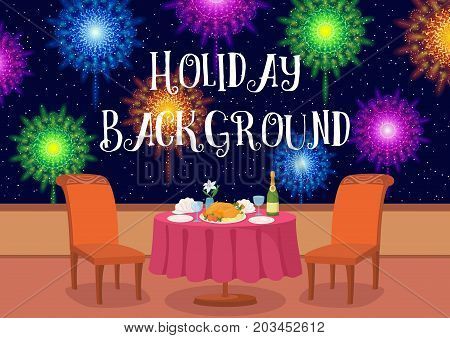 Restaurant in Open Air with Table and Festive Food Under Night Sky with Colorful Holiday Fireworks, Cartoon Background Illustration for Your Design. Eps10, Contains Transparencies. Vector