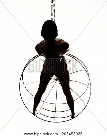 Silhouette of a sexy woman on a metal cage, black and white.
