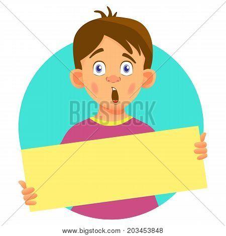 Surprised Boy holding blank poster. Blank message illustration. Hands holding blank paper