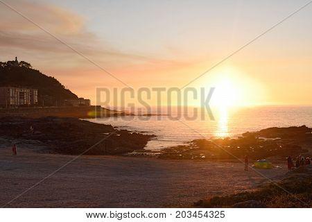 Sunset in the beach of Baiona Pontevedra province Galicia Spain