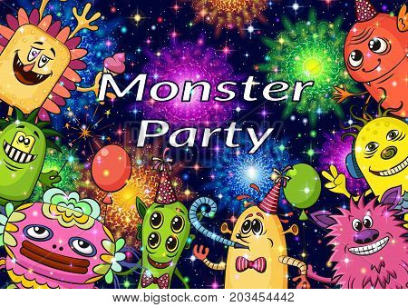 Background for Your Holiday Party Design with Different Cartoon Monsters, Colorful Illustration with Cute Funny Characters and Bright Fireworks. Eps10, Contains Transparencies. Vector