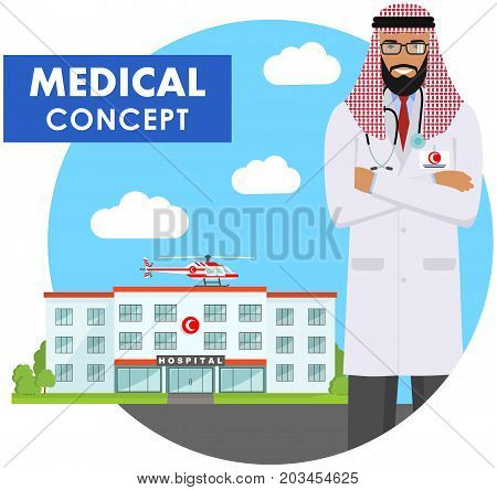 Medical concept. Detailed illustration of muslim medical people on background with medical center and helicopter in flat style. Vector illustration.