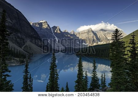 the Lake Moraine in Banff National Park