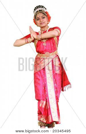 Traditional Bharatanatyam Indian dancer on pure white background