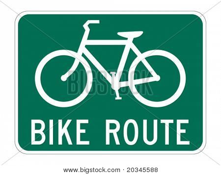 Bicycle Route Guide sign on white