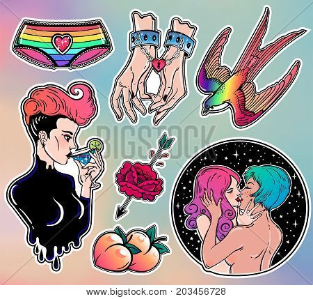 Set of gay lady, homosexuality classic flash tattoo style patches, elements. Set of traditional stickers, pins. LGBT pride. ralationships, pop art items. Fashionable vector collection, diversity kit.