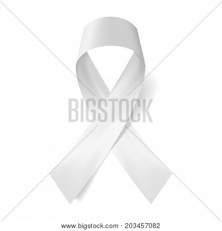Realistic white ribbon and Anti violence against women and gender justice movement icon . Vector illustration