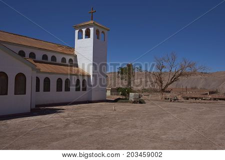 Pedro de Valdivia, Antofagasta Region, Chile - August 19, 2017: Church in the derelict nitrate mining town of Pedro de Valdivia in the Atacama Desert of northern Chile