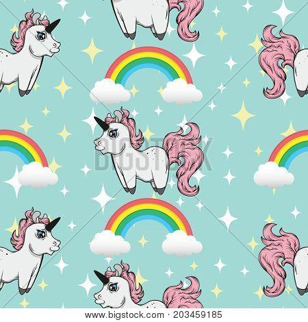 seamless pattern with unicorns. Unicorns and rainbows. Kawai cute unicorn