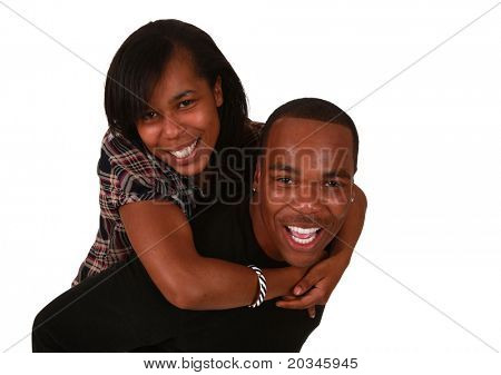 Beautiful african american couple on pure white background