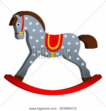 rocking horse. children s toy. classic wooden toy. vector illustration