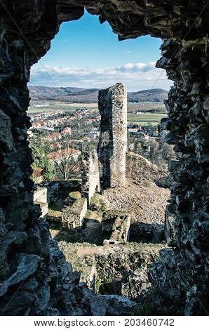 View from the ruins of Divin castle Slovak republic. Travel destination. Cold photo filter. Ancient architecture.