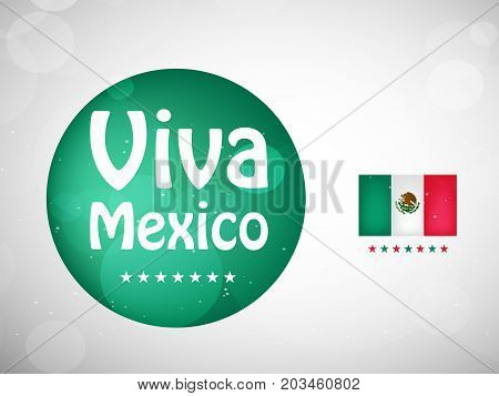 illustration of Mexico flag and Viva Mexico text on button background on the occasion of Mexico Independence Day