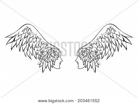 Two wings with human faces. Couple in love. Couple in love. Girl with the hair in the form of a bird's wing.
