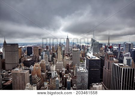Aerial View Over Manhattan On A Cloudy Day
