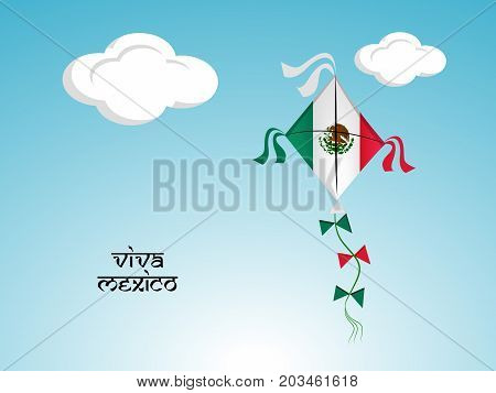 illustration of kite in Mexico flag background with Viva Mexico text on the occasion of Mexico Independence Day