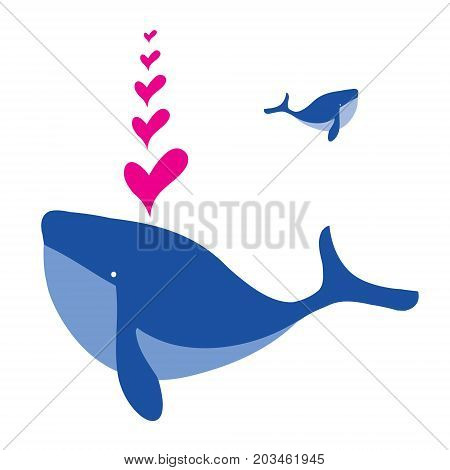 Cartoon whale vector card with hearts. Whale in love. Greeting card with a whale. Valentines day background