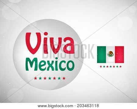 illustration of Viva Mexico text on button background and Mexico flag on the occasion of Mexico Independence Day