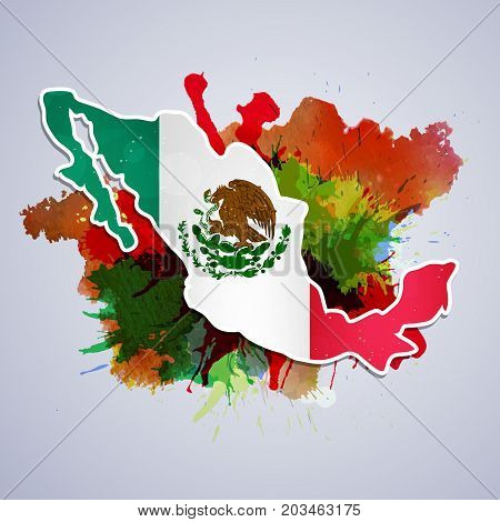 illustration of Mexico map in Mexico flag background on the occasion of Mexico Independence Day
