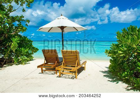 Beautiful sandy beach with sunbeds and umbrellas in Indian ocean Maldives island