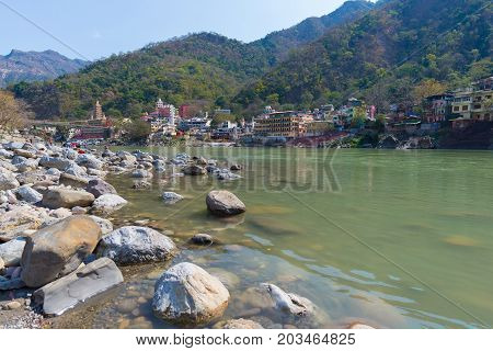 Rishikesh, Holy Town And Travel Destination In India, Famous For Yoga Classes. Clear Sky And Transpa