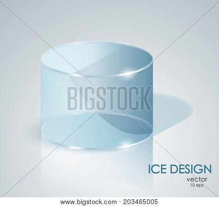 Blue Ice Cylinder. Glass Cylinder.