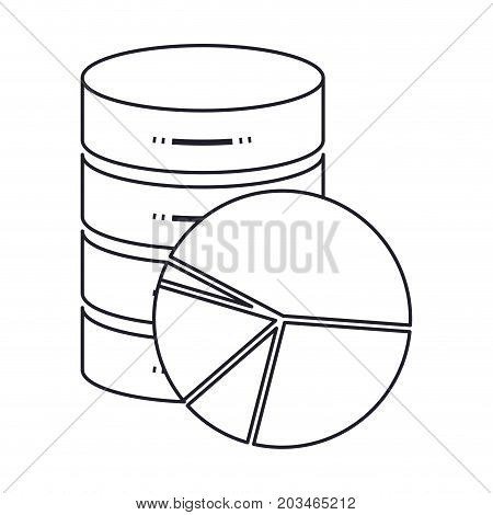server hosting storage icon and available space circular graphic in monochrome silhouette vector illustration