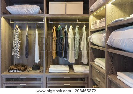 Wooden Wardrobe In Walk In Closet