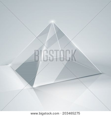 Glass Pyramid. Transparent Pyramid. Isolated.
