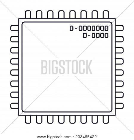 microchip closeup icon in monochrome silhouette vector illustration