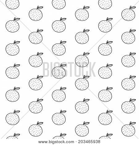 Cartoon orange pattern with hand drawn oranges. Cute vector black and white orange pattern. Seamless monochrome orange pattern for fabric, wallpapers, wrapping paper, cards and web.
