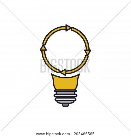 light bulb with reload icon colorful silhouette with thick contour vector illustration