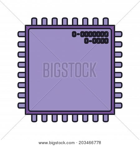 microchip closeup icon silhouette in purple color with thick contour vector illustration