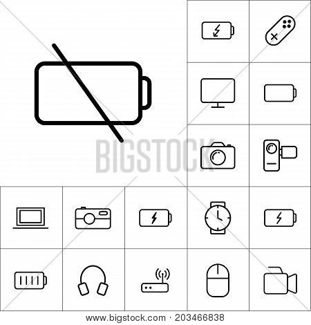 Thin Line Low Battery Icon On White Background, Gadgets Set