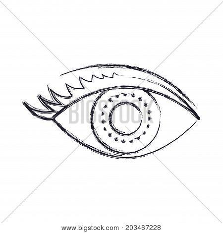 eye with eyelashes in monochrome blurred silhouette vector illustration