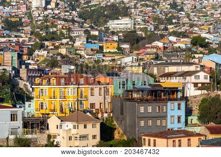The colorful buildings of Valparaiso in Chile, South America