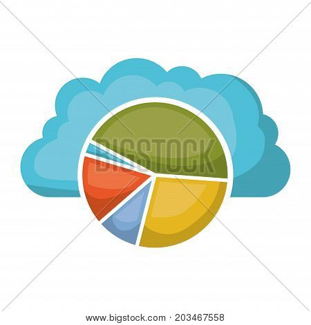 cloud storage data service icon and available space circular graphic shading vector illustration