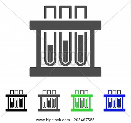 Analysis Test-Tubes icon. Vector illustration style is a flat iconic analysis test-tubes symbol with black, gray, green, blue color versions. Designed for web and software interfaces.