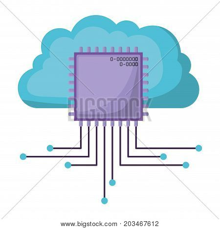 cloud storage data and cpu microprocessor icon shading vector illustration