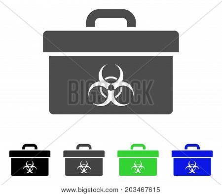 Biohazard Toolbox icon. Vector illustration style is a flat iconic biohazard toolbox symbol with black, grey, green, blue color versions. Designed for web and software interfaces.