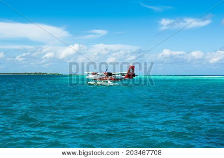 MALE MALDIVES - JULY 04 2017: hydroplane near the Dhidhoofinolhu island
