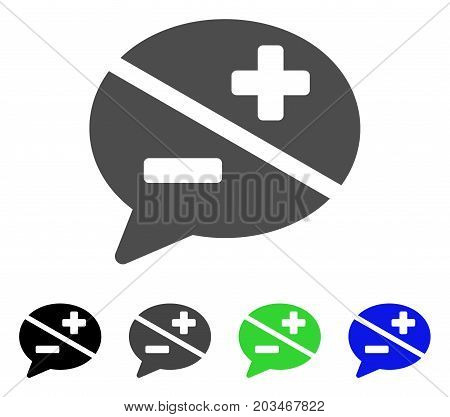 Dispute icon. Vector illustration style is a flat iconic dispute symbol with black, gray, green, blue color variants. Designed for web and software interfaces.