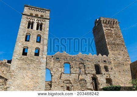 The Romanesque Abbey Of Sant Pere De Rodes, In The Municipality Of El Port De La Selva. Girona, Cata